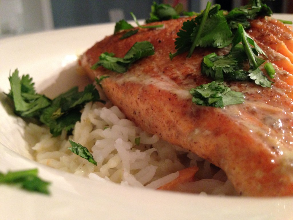 """coconut milk poached salmon"""