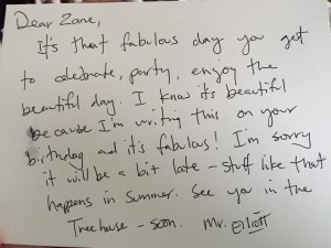 Letter from David Elliott to my son, Zane.