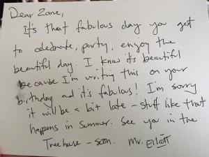 Letter from David Elliott to my son, Zane.